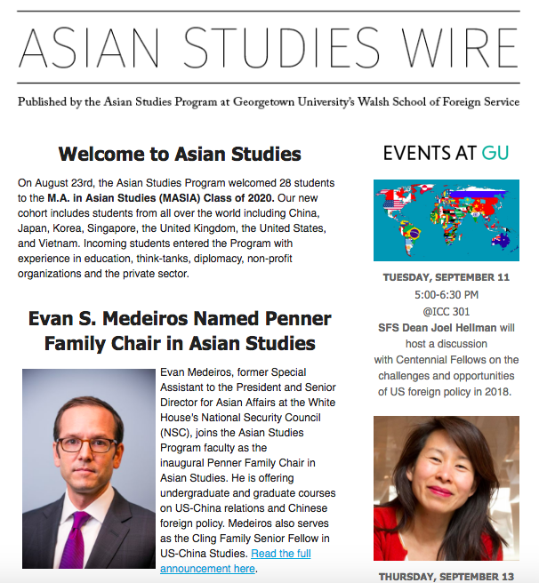 Asian Studies Wire newsletter