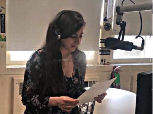 Liana Sherman recording her voice