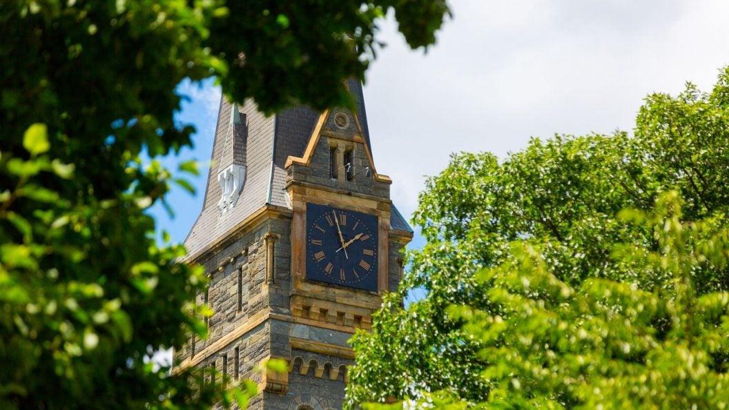 Photo of clocktower at Georgetown University